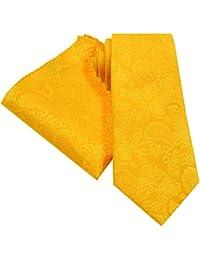 PickaPocket Juego de corbata y colgador de mano de estilo dorado y naranja, 146 cm x 8 cm, con manillar a juego, diseño cuadrado