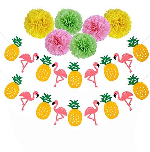 sopeace Flamingo Ananas Banner Hawaiian Luau Sommer Party Dekoration Pom Poms Papier Trinkhalme Hochzeit Geburtstag Party Supplies, für Luau Party Sommer Strand Foto Hintergrund Dekoration Style 6 (Strand-hochzeits Tisch Dekorationen)