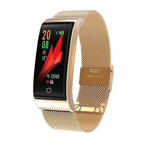 KOBWA F4 - Pulsera Inteligente de Metal con Monitor de frecuencia cardíaca y presión Arterial para Hombres y Mujeres, podómetro, Pulsera Inteligente, Dorado