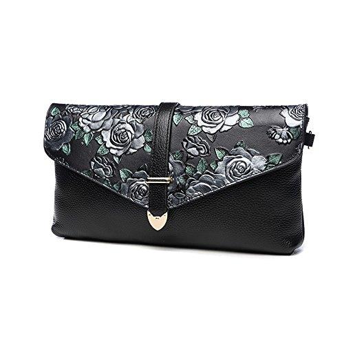 Guofeng ursprüngliche erste Schicht aus Leder geprägt Beutel, Handtasche, weibliche Kupplung, Schultertasche ( Farbe : Silver rose ) Silver rose