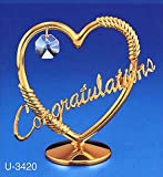 G n G 24K Gold Palted Gift HEART CONGRATULATIONS STUDDED WITH SWAROVSKI CRYSTALS