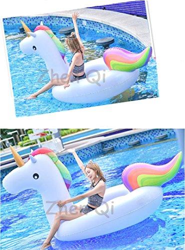 Riesiges aufblasbares Einhorn Schwimmtier für Pool-Partys, Pool Einhorn Luftmatratze , Aufblasbar Schwimmen Pool Floß PVC Aufblasbarer Schwebebett für 2-3 Personen(275x140x120cm)