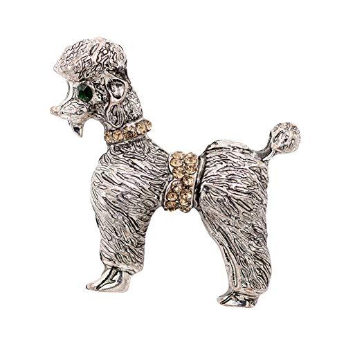 CCJIAC Alte Silber Hund Broschen Frauen Mode-Accessoires Strass Tier Design Brosche Pins Weibliches Geschenk (Alten Kostüm Broschen)