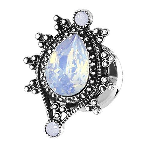 Piersando Ohr Plug Piercing Ear Flesh Tunnel Ohrpiercing Edelstahl Vintage Tribal Ethno Antik Ornament Opal Träne Oval Silber Blau 10mm