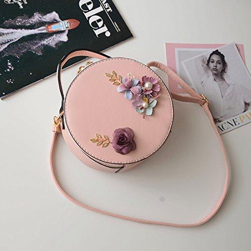 Weibliche Blumendekoration Minibeutel Runden Kurierbeutel-Schulter Kleine Runde Tasche Rosa