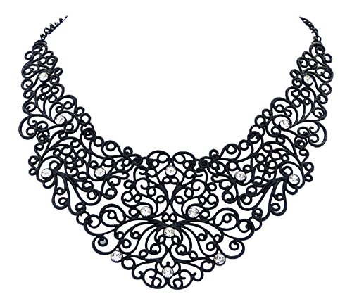 Tattoo Collier - Statement Kette ornamentales Design - Strass Kristalle klar ()