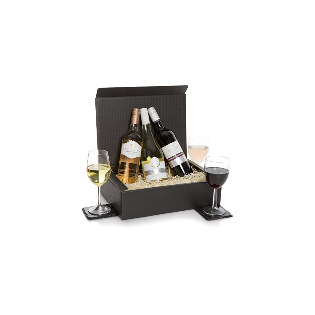 Luxury Wine Trio Hamper - Three Bottle Wine Gift - Red Wine, White & Rose Wines In Deluxe Gift Box