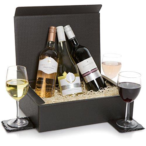 Cesta de trío de vino mezclado - Regalo de vino australiano clásico - Tres vinos tinto y blanco en una caja de regalo de lujo