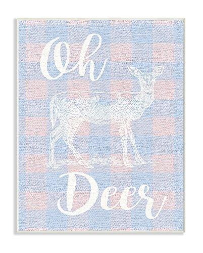 Stupell Industries Oh Deer weiß Stempel auf rosa Plaid Wandschild Art, mehrfarbig