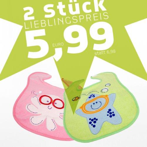 natubini Klett Lätzchen im 2er Set, rosa Brillenkrake + lindgrüner Taucherseestern - Preisvorteil: 0,99 EUR gegenüber Einzelbestelltung - Baby Lätzchen Set aus flauschigem Frottee für Mädchen, OneSize fits all …