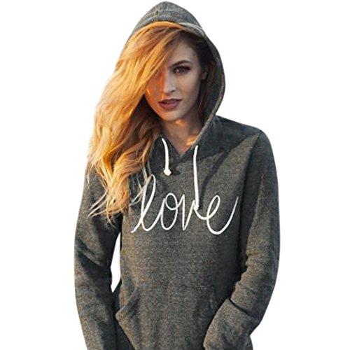 Sweatshirt Femme Lettre Imprimé, LMMVP Love Impression Pullover Poche Drawstring Hoodie Top à Manches Longues Haut Sweats à Capuche Chemise (s, Gris foncé)