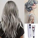 Haare Farbstoff Creme, ❤️ Jiegreat ❤️ Fashion Permanent Punk Haarfärbemittel Hellgrau Silber Farbe Creme 100ML (Weiß)