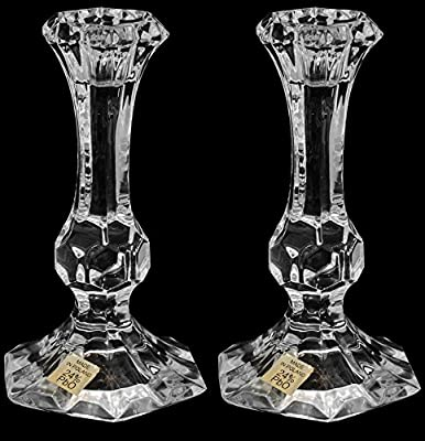 Pair of Crystal Glass Candlesticks 24% Lead Crystal Candle Holder, 14cm Tall by Swartons