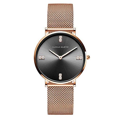 Damen Uhren,L'ananas Frauen Schwarz Gesicht Strass Mesh Gurt Freie Größe Luxuriös Quarz Anolog Armbanduhren Wristwatches (Roségold)