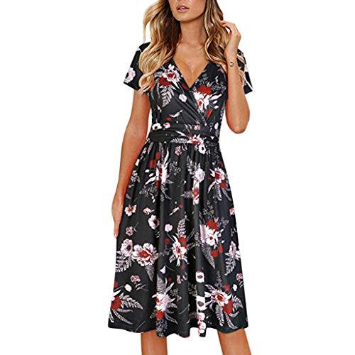 MEIbax Damen Blumedrucken Strandkleid Damast Druck Kurzarm Abend Party Mini Club Kleid A-Linie Kleider