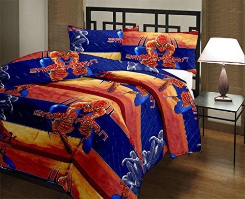 Monil Spider Man Cartoon Character Kids Single Bed Reversible AC Dohar/Blanket (Set of 1)