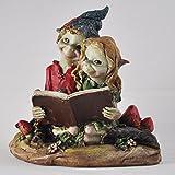 Pixie pareja lectura, escultura mágico misterio alta calidad jardín decoración figuras elfo y los...