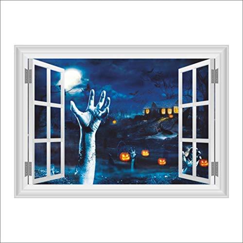 SEWORLD 3D Halloween Hintergrund Wand Dekoration entfernbare Wandaufkleber(B-Schwarz,50x70cm)