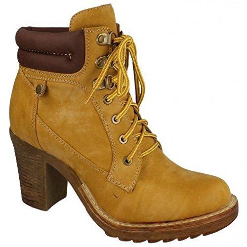 Spot On - Stivaletti alla caviglia con tacco alto - Donna (EU 39) (Miele)