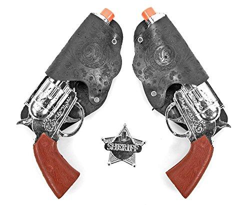 Nick and Ben Cowboy-Pistolen-Set Kostüm Gürtel Sheriff Stern Fasching Spielzeugpistolen Revolver