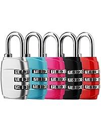5 x Candado de combinación, DazSpirit 3 dígitos Candado de Seguridad de Viaje para Maletas de Viaje Estuche para casilleros Mochila de Gimnasia Paquete - Negro, Azul, Rosa, Rojo y Plateado
