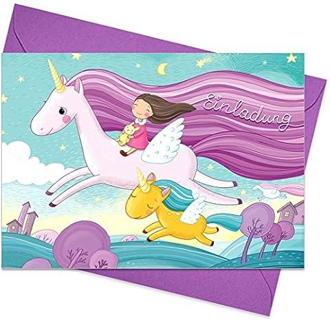 """8er Set (inkl. Umschläge): Einladungskarten """"Einhorn"""" für den Kindergeburtstag oder anderen Anlass – hochwertige Geburtstagseinladungen für Mädchen, Kinder"""