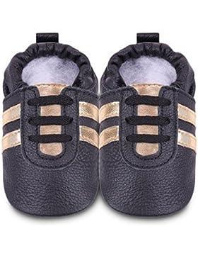 ShooShoos - Zapatitos de piel suela blanda, deportivas negras