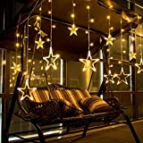 Starvin Home Star Light Curtain Decoration Diwali Light ||Christmas Light|| Make in India || 10 Hanging Stars with 8 Modes|| Copper Wire|| Colour –Warm White Yellow Q-12