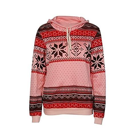 Femmes Sweat-shirt, Morwind Poche Avant Floral Rayures Imprimées Manches Longues Doux Pull Capuche Sweat-shirt Pullover Hoodies (L, Rose)