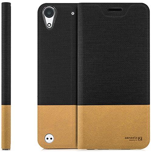 zanasta Designs Tasche HTC Desire 530 Hülle Flip Case Slim Schutzhülle Handytasche mit Kartenfach, Standfunktion | Schwarz