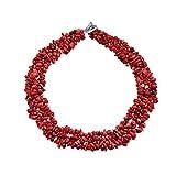 Bling Jewelry mehreren Strängen gefärbt Red Coral Chips Chunky Versilberte Halskette 18 Zoll