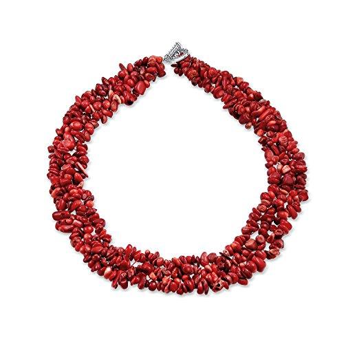 Bling Jewelry mit mehreren Strängen gefärbt Red Coral Chips Chunky Versilberte Halskette 18 Zoll