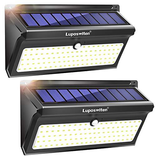 Luci Solari da Esterno 100 LED, Luposwiten 2000 LM Lampade Solari Led da Esterno, 125°Luce Solare con Sensore di Movimento, Luci Solari per Giardino, Pareti, Cortile,Lampada Solare Esterno(2 Pezzo)