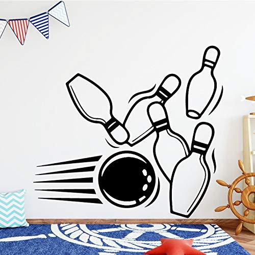 ZRSCL Bowling Ball Vinyl Wandaufkleber Personalisierte Name Kunst Aufkleber Wandaufkleber für Kinder Wohnzimmer Baby Decals Home Docoration58CMX52CM
