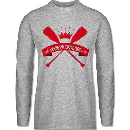 Wassersport - Paddelkönigin - Longsleeve / langärmeliges T-Shirt für Herren Grau Meliert
