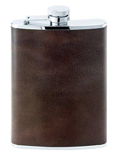 Herbertz Uni Taschenflasche, Edelstahl, Leder, 230 ml Messer, Mehrfarbig, One Size