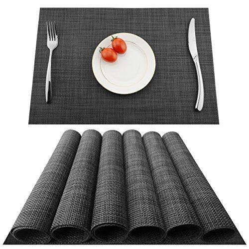 KOKAKO Platzsets(6er Set),Rutschfest Abwaschbar Tischsets Tischmatte PVC Abgrifffeste Hitzebeständig Platzdeckchen,Schmutzabweisend und Waschbare,Platz-Matten für Küche Speisetisch (Dunkel Grau)