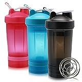 Shaker bottiglia con dosatore a sfera, frullato di proteine in polvere bottiglia, striscia antiscivolo, a prova di perdite e classica loop top in plastica, senza BPA, 595,3gram/600ml, Blu, by Auoon, BLACK