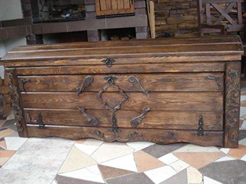 Massive Handgemachte Holzkiste Truhe Box Holz Aufbewahrung Antik Dekoration Wohnen Möbel Sitzbank...