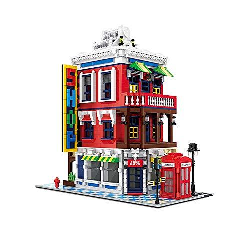 Q-Man Ingenious Spielzeug Moc Architektur The Corner Store mit 3 Levels / 2332pcs Baukasten #F311