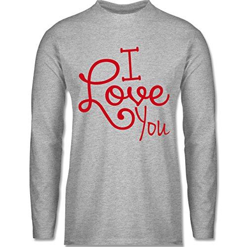 Shirtracer Statement Shirts - I Love You - Herren Langarmshirt Grau Meliert