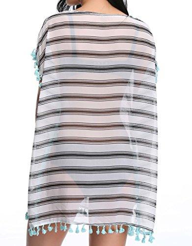 NINGMI Strandponcho Damen Strandkleid Chiffon Streifen Quasten Bikini Cover Up Type-B