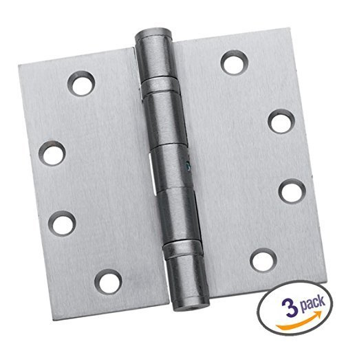 Dynasty Hardware Commercial Grade Ball Bearing Door Hinge 4-1/2 x 4-1/2 Full Mortise Stainless Steel, Non-Removable Pin -- 3- PACK by Dynasty Hardware - Ball-bearing Hinge