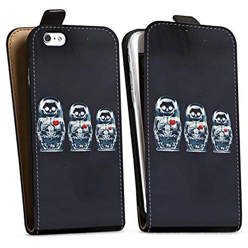 Apple iPhone X Silikon Hülle Case Schutzhülle Bones Skull Totenkopf Downflip Tasche schwarz