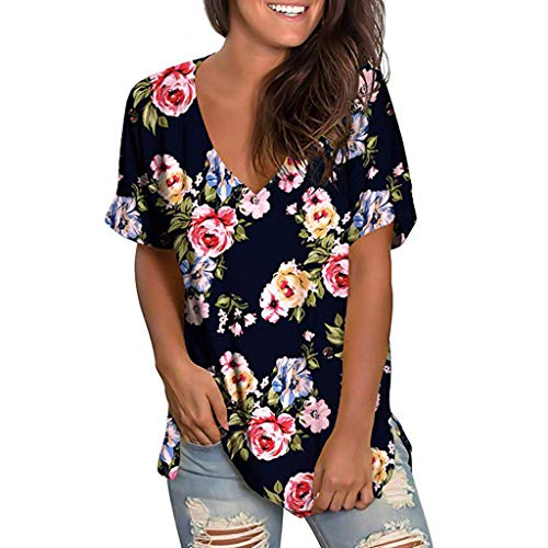 mounter- Damen Sommer V-Ausschnitt Kurzarm T-Shirt Casual Tunika Tops Bluse Damen Floral Print Pullover Shirt Tunika Tops Gr. Medium, Blackb (Drape Neck Ärmel Top Lange)