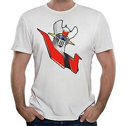 Camiseta vintage Hombre Mazinger Z-Retro, Blanca, S