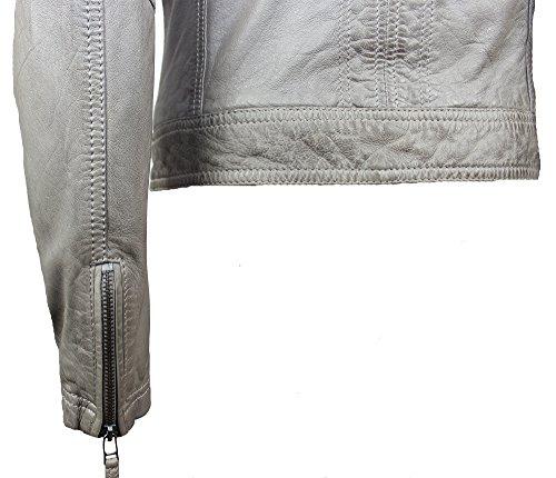 Oakwood Damen Lederjacke Bikerjacke Gamma Grau Echtleder Tailliert Umlegekragen Gr. S – XL (S) - 4