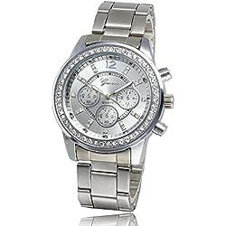 Forepin® Damen Armbanduhr Uhren für Quarz Watches Edelstahlarmband mit Schön Rhinestone
