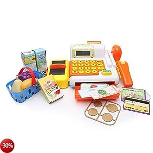 Registratore di cassa Shop Till Supermercato Set del corredo del giocattolo con il calcolatore per i bambini Giochi di Ruolo Di Wishtime