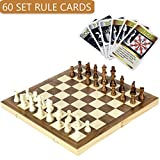 iBaseToy Folding Wooden Chess Set with 60 Game Rules Cards, Traditional Games for Adults Kids Beginners - 39 x 39cm Foldable Board